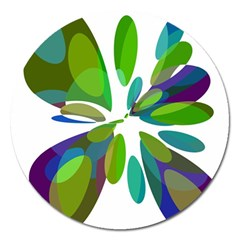 Green abstract flower Magnet 5  (Round)