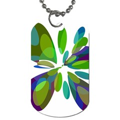 Green abstract flower Dog Tag (One Side)
