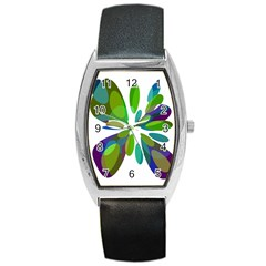 Green abstract flower Barrel Style Metal Watch
