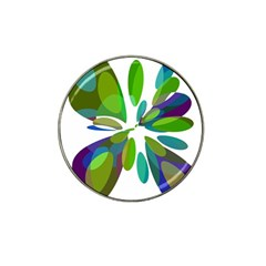 Green abstract flower Hat Clip Ball Marker (4 pack)