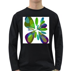 Green abstract flower Long Sleeve Dark T-Shirts