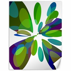 Green abstract flower Canvas 12  x 16