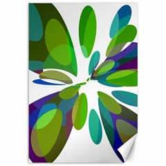 Green abstract flower Canvas 12  x 18