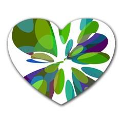Green abstract flower Heart Mousepads