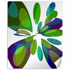 Green abstract flower Canvas 11  x 14