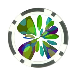 Green abstract flower Poker Chip Card Guards