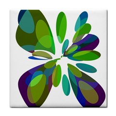 Green abstract flower Face Towel