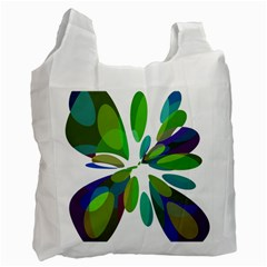 Green abstract flower Recycle Bag (One Side)
