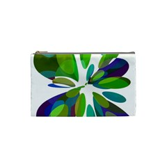Green abstract flower Cosmetic Bag (Small)