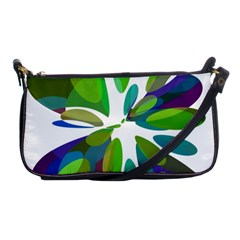 Green abstract flower Shoulder Clutch Bags