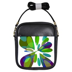 Green abstract flower Girls Sling Bags