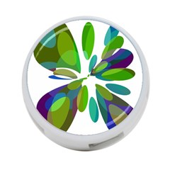 Green abstract flower 4-Port USB Hub (One Side)