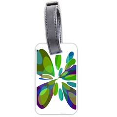 Green abstract flower Luggage Tags (One Side)
