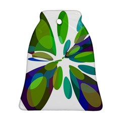 Green abstract flower Bell Ornament (2 Sides)