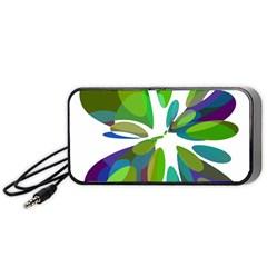 Green abstract flower Portable Speaker (Black)