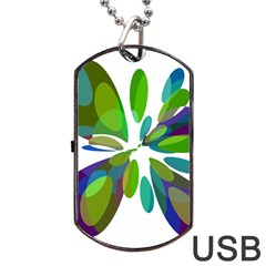 Green abstract flower Dog Tag USB Flash (Two Sides)
