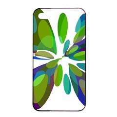 Green abstract flower Apple iPhone 4/4s Seamless Case (Black)