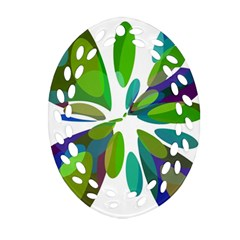 Green abstract flower Oval Filigree Ornament (2-Side)