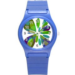 Green abstract flower Round Plastic Sport Watch (S)