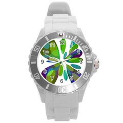 Green abstract flower Round Plastic Sport Watch (L)