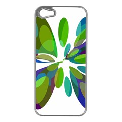 Green abstract flower Apple iPhone 5 Case (Silver)