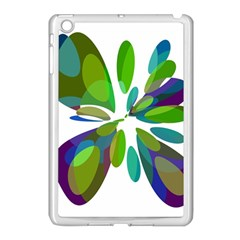 Green abstract flower Apple iPad Mini Case (White)