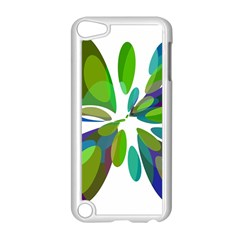 Green abstract flower Apple iPod Touch 5 Case (White)