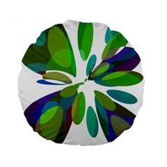 Green abstract flower Standard 15  Premium Round Cushions
