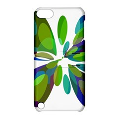Green abstract flower Apple iPod Touch 5 Hardshell Case with Stand