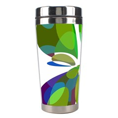 Green abstract flower Stainless Steel Travel Tumblers
