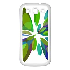 Green abstract flower Samsung Galaxy S3 Back Case (White)