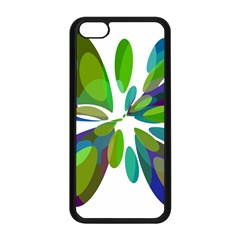 Green abstract flower Apple iPhone 5C Seamless Case (Black)
