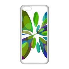 Green abstract flower Apple iPhone 5C Seamless Case (White)