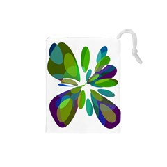 Green abstract flower Drawstring Pouches (Small)