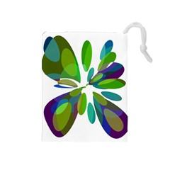 Green abstract flower Drawstring Pouches (Medium)