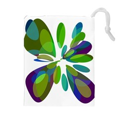 Green abstract flower Drawstring Pouches (Extra Large)