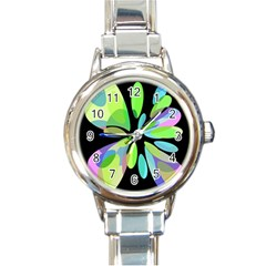 Green abstract flower Round Italian Charm Watch