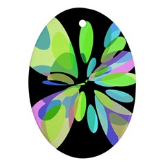 Green abstract flower Ornament (Oval)