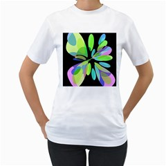 Green abstract flower Women s T-Shirt (White) (Two Sided)