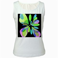 Green abstract flower Women s White Tank Top