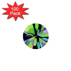 Green abstract flower 1  Mini Buttons (100 pack)