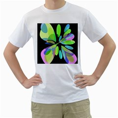Green abstract flower Men s T-Shirt (White) (Two Sided)