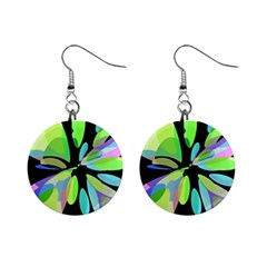 Green abstract flower Mini Button Earrings