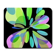 Green abstract flower Large Mousepads