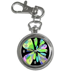 Green abstract flower Key Chain Watches