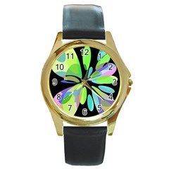 Green abstract flower Round Gold Metal Watch
