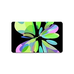 Green abstract flower Magnet (Name Card)