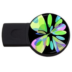 Green abstract flower USB Flash Drive Round (2 GB)