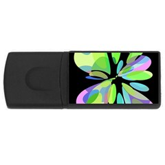 Green abstract flower USB Flash Drive Rectangular (2 GB)