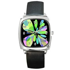Green abstract flower Square Metal Watch